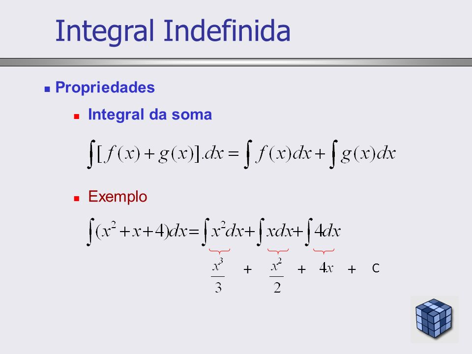 Propriedades Integral da soma Exemplo +++ C Integral Indefinida