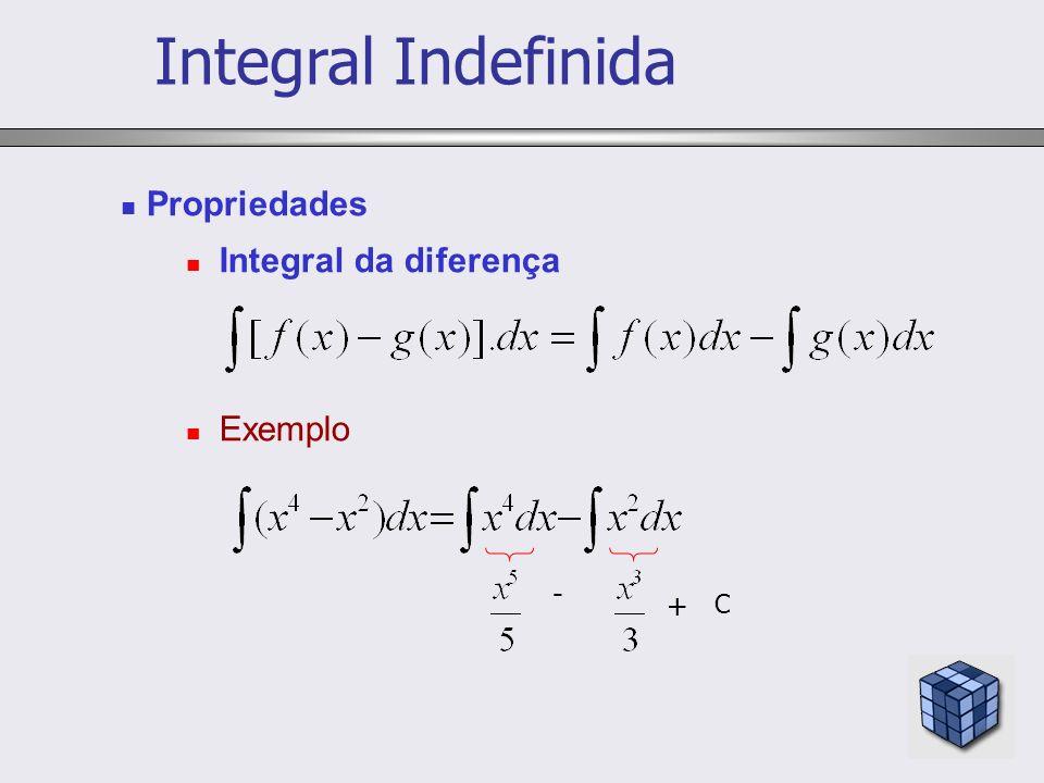 Propriedades Integral da diferença Exemplo - + C Integral Indefinida