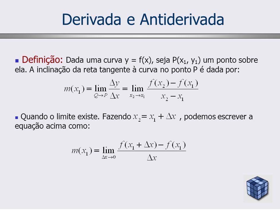 Derivada e Antiderivada Definição: Dada uma curva y = f(x), seja P(x 1, y 1 ) um ponto sobre ela. A inclinação da reta tangente à curva no ponto P é d