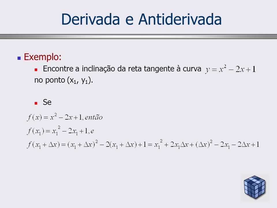 Derivada e Antiderivada Derivada Dada a tabela abaixo: Derivar uma função implica em encontrar a função que preenche a terceira coluna a partir da segunda.