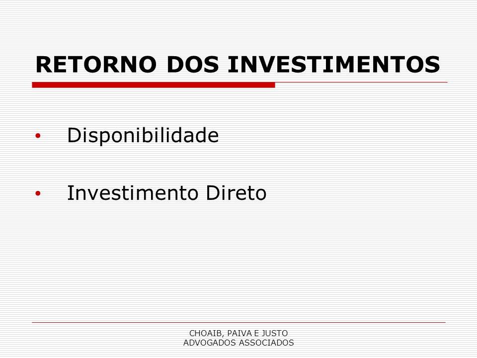 CHOAIB, PAIVA E JUSTO ADVOGADOS ASSOCIADOS RETORNO DOS INVESTIMENTOS Disponibilidade Investimento Direto