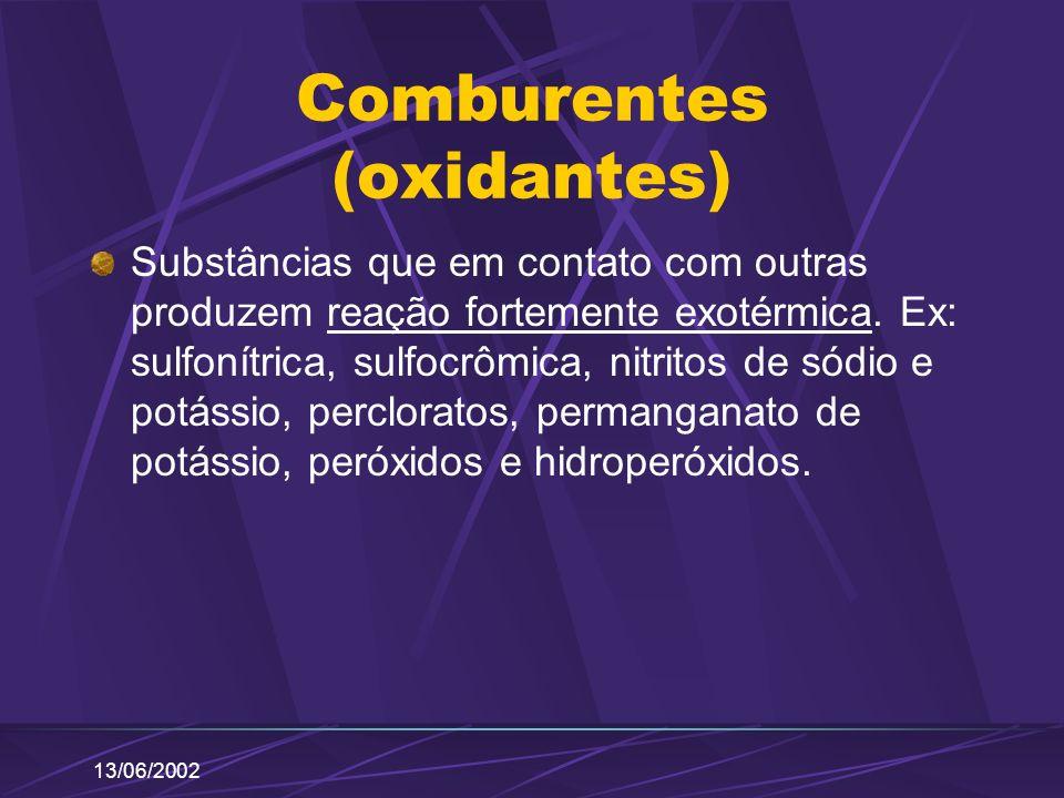13/06/2002 Comburentes (oxidantes) Substâncias que em contato com outras produzem reação fortemente exotérmica. Ex: sulfonítrica, sulfocrômica, nitrit