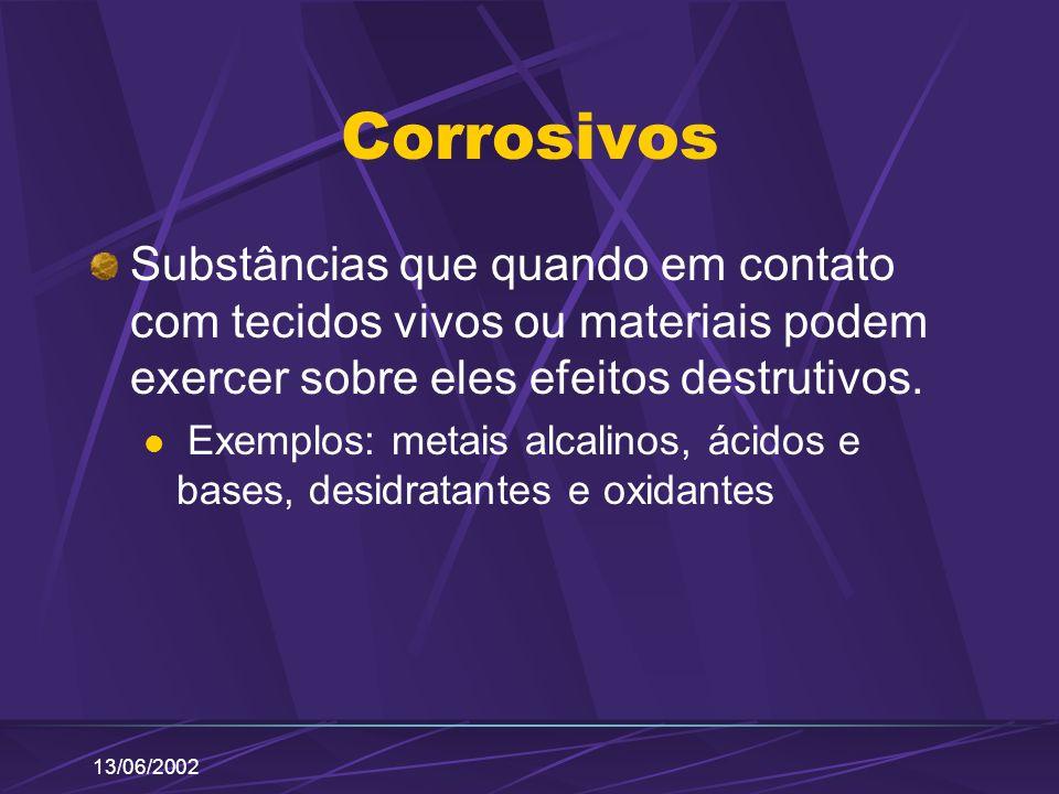 13/06/2002 Corrosivos Substâncias que quando em contato com tecidos vivos ou materiais podem exercer sobre eles efeitos destrutivos. Exemplos: metais