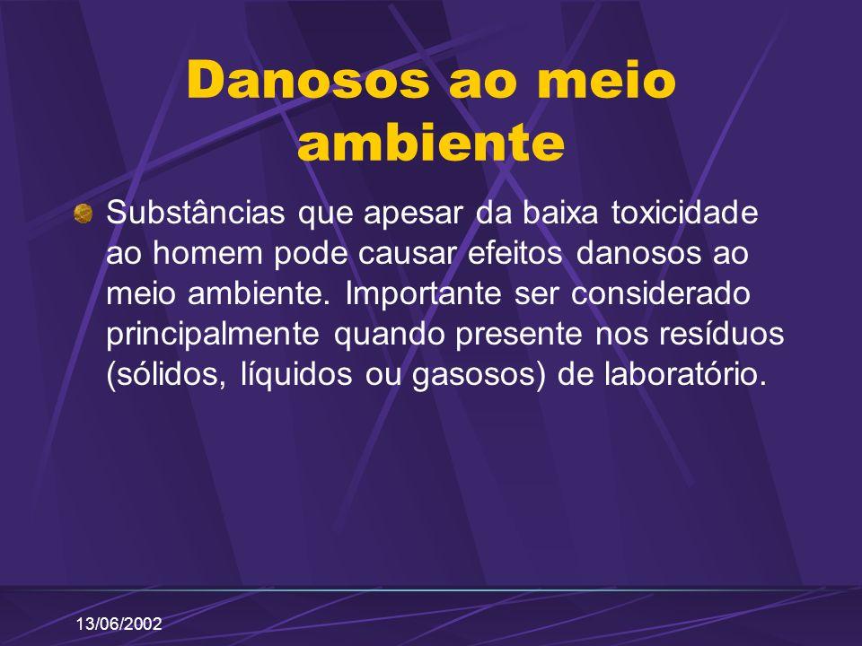 13/06/2002 Danosos ao meio ambiente Substâncias que apesar da baixa toxicidade ao homem pode causar efeitos danosos ao meio ambiente. Importante ser c