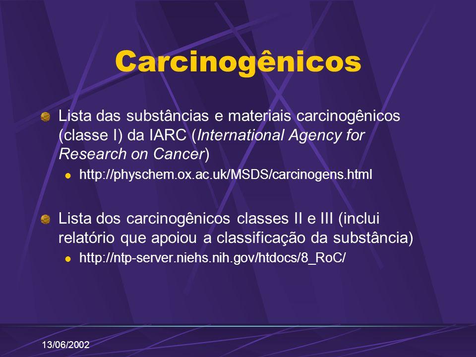 13/06/2002 Carcinogênicos Lista das substâncias e materiais carcinogênicos (classe I) da IARC (International Agency for Research on Cancer) http://phy