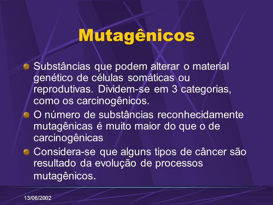 13/06/2002 Mutagênicos Substâncias que podem alterar o material genético de células somáticas ou reprodutivas. Dividem-se em 3 categorias, como os car