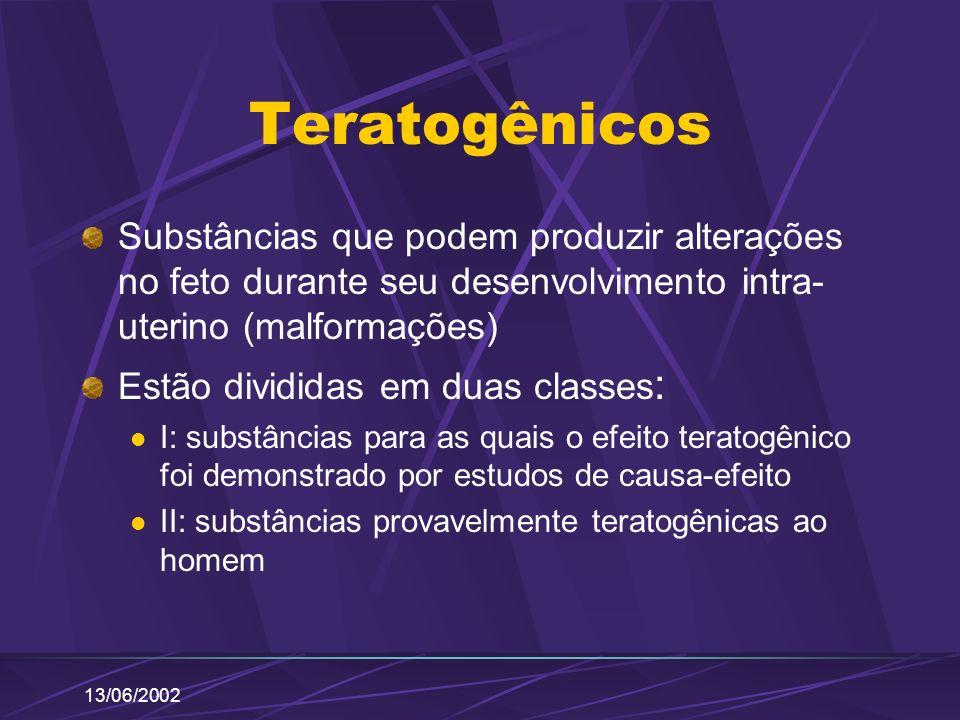 13/06/2002 Teratogênicos Substâncias que podem produzir alterações no feto durante seu desenvolvimento intra- uterino (malformações) Estão divididas e