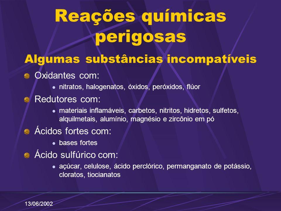 13/06/2002 Reações químicas perigosas Algumas substâncias incompatíveis Oxidantes com: nitratos, halogenatos, óxidos, peróxidos, flúor Redutores com: