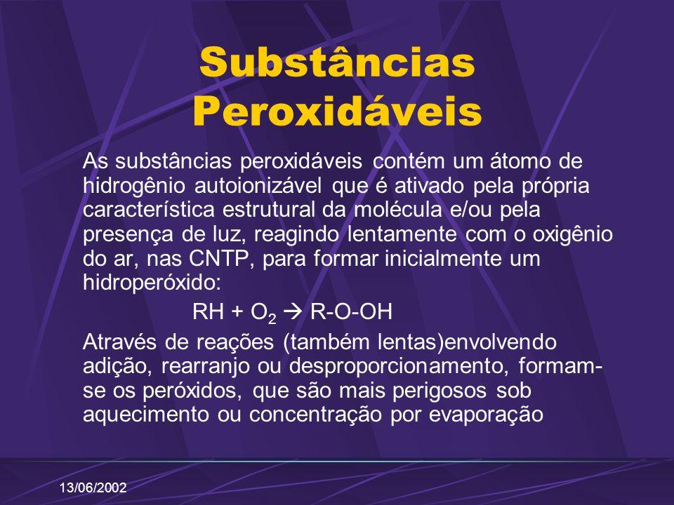 13/06/2002 Substâncias Peroxidáveis As substâncias peroxidáveis contém um átomo de hidrogênio autoionizável que é ativado pela própria característica