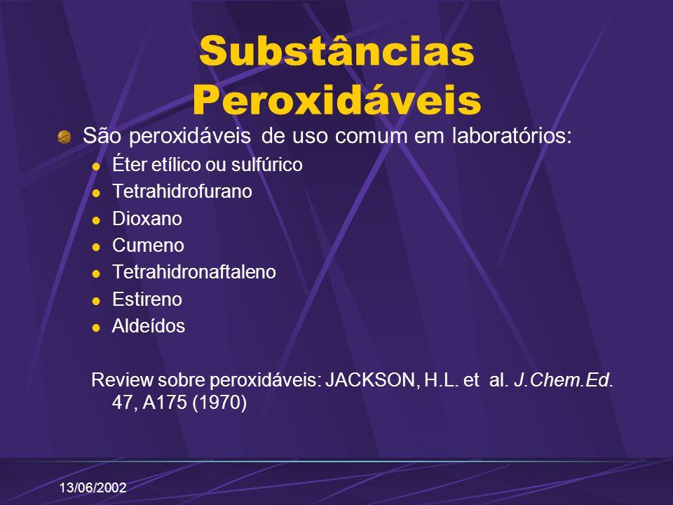 13/06/2002 Substâncias Peroxidáveis São peroxidáveis de uso comum em laboratórios: Éter etílico ou sulfúrico Tetrahidrofurano Dioxano Cumeno Tetrahidr
