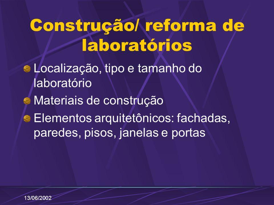 13/06/2002 Construção/ reforma de laboratórios Localização, tipo e tamanho do laboratório Materiais de construção Elementos arquitetônicos: fachadas,