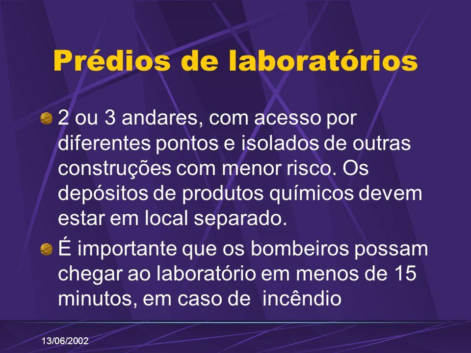 13/06/2002 Prédios de laboratórios 2 ou 3 andares, com acesso por diferentes pontos e isolados de outras construções com menor risco. Os depósitos de