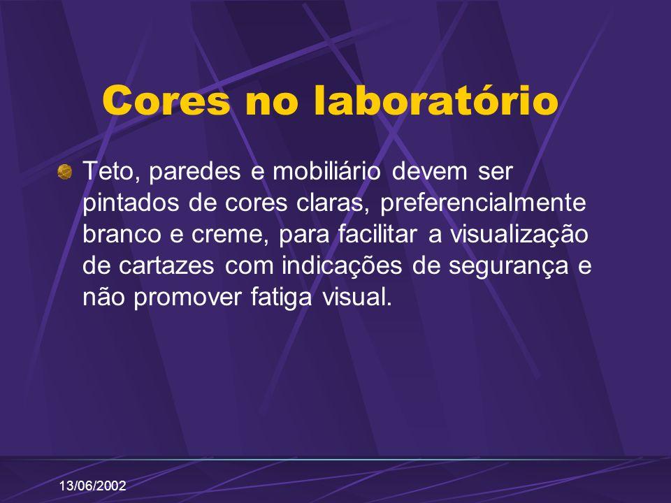 13/06/2002 Cores no laboratório Teto, paredes e mobiliário devem ser pintados de cores claras, preferencialmente branco e creme, para facilitar a visu