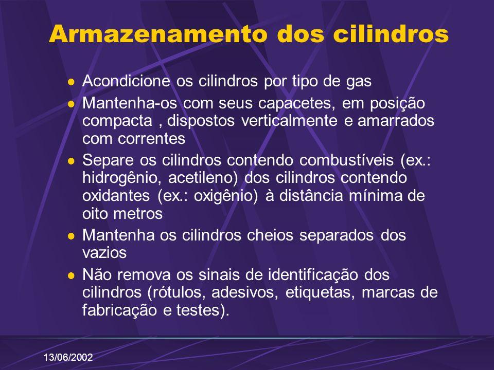 13/06/2002 Armazenamento dos cilindros Acondicione os cilindros por tipo de gas Mantenha-os com seus capacetes, em posição compacta, dispostos vertica