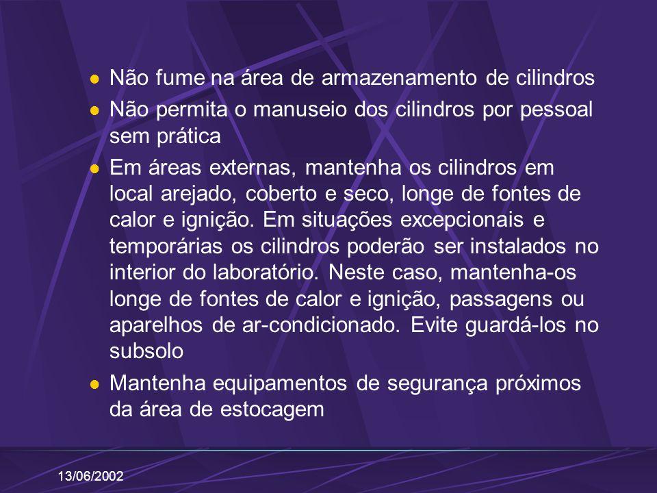 13/06/2002 Não fume na área de armazenamento de cilindros Não permita o manuseio dos cilindros por pessoal sem prática Em áreas externas, mantenha os