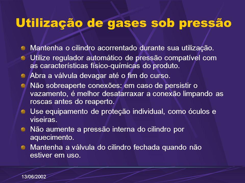 13/06/2002 Utilização de gases sob pressão Mantenha o cilindro acorrentado durante sua utilização. Utilize regulador automático de pressão compatível