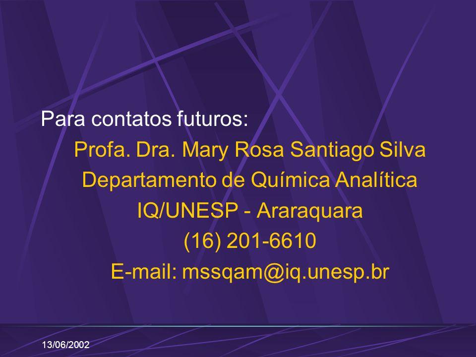 13/06/2002 Para contatos futuros: Profa. Dra. Mary Rosa Santiago Silva Departamento de Química Analítica IQ/UNESP - Araraquara (16) 201-6610 E-mail: m