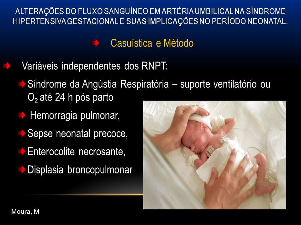 Casuística e Método Variáveis independentes dos RNPT: ecografia cerebral Até o 5 0 dia de vida e um segundo exame até os 28 dias hiperecogenicidade periventricular persistente leucomalácia cística, hemorragia intraventricular (Grau 1 a 4) Moura, M ALTERAÇÕES DO FLUXO SANGUÍNEO EM ARTÉRIA UMBILICAL NA SÍNDROME HIPERTENSIVA GESTACIONAL E SUAS IMPLICAÇÕES NO PERÍODO NEONATAL.