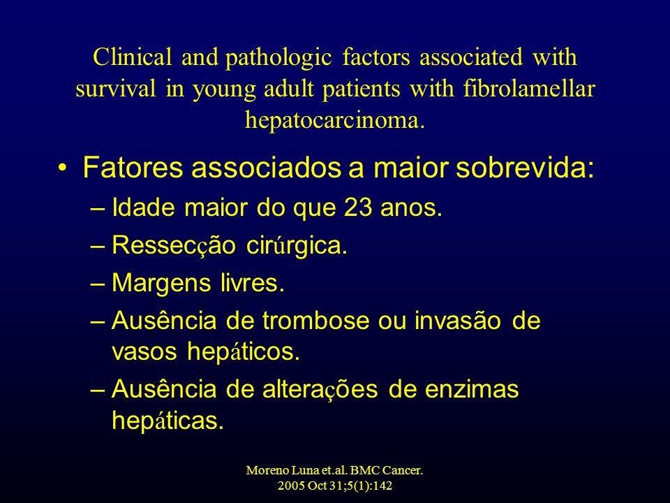 Moreno Luna et.al. BMC Cancer. 2005 Oct 31;5(1):142 Fatores associados a maior sobrevida: –Idade maior do que 23 anos. –Ressec ç ão cir ú rgica. –Marg