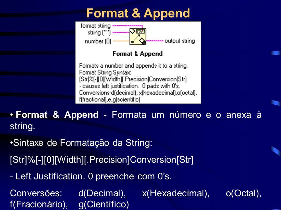 Format & Append - Formata um número e o anexa à string.