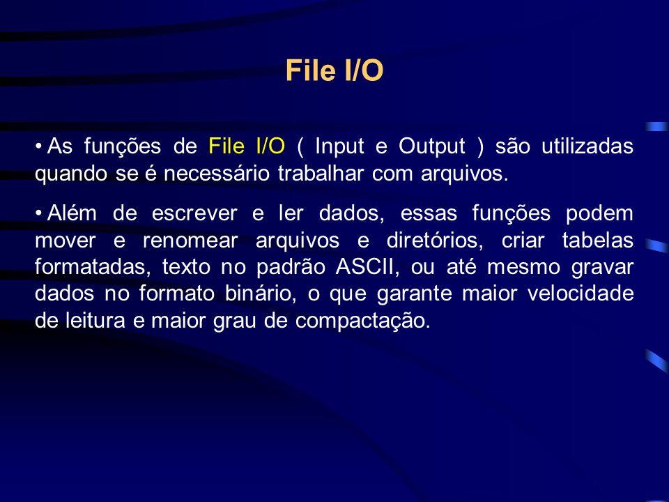 File I/O As funções de File I/O ( Input e Output ) são utilizadas quando se é necessário trabalhar com arquivos.