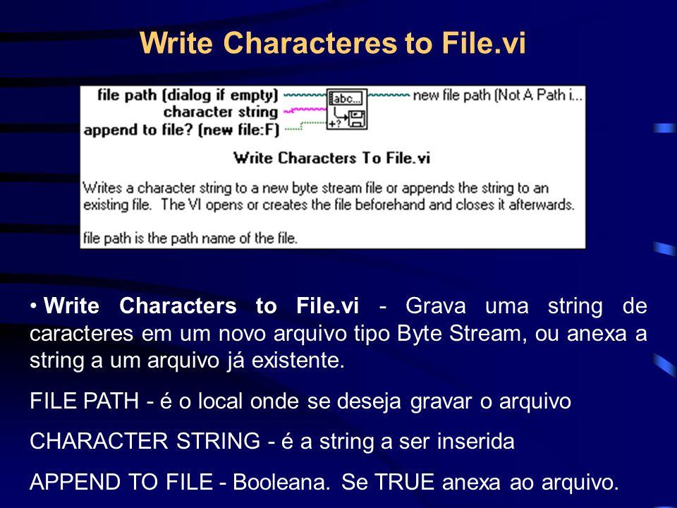 Write Characteres to File.vi Write Characters to File.vi - Grava uma string de caracteres em um novo arquivo tipo Byte Stream, ou anexa a string a um arquivo já existente.