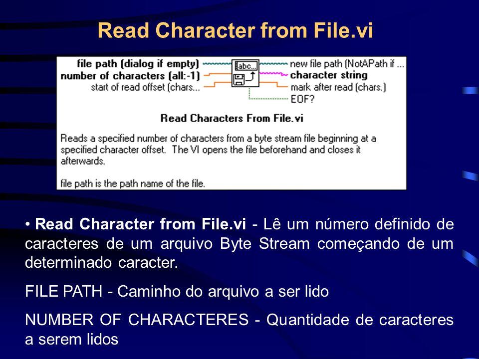 Read Character from File.vi Read Character from File.vi - Lê um número definido de caracteres de um arquivo Byte Stream começando de um determinado caracter.