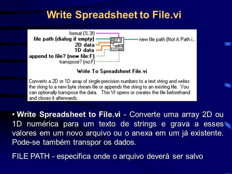 Write Spreadsheet to File.vi Write Spreadsheet to File.vi - Converte uma array 2D ou 1D numérica para um texto de strings e grava a esses valores em um novo arquivo ou o anexa em um já existente.
