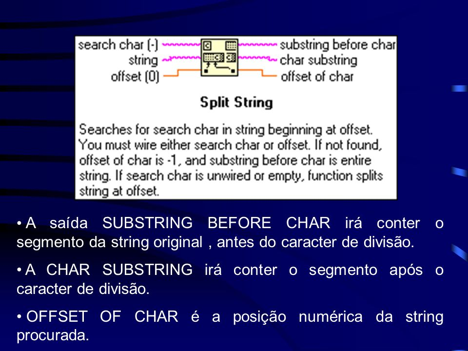 A saída SUBSTRING BEFORE CHAR irá conter o segmento da string original, antes do caracter de divisão.