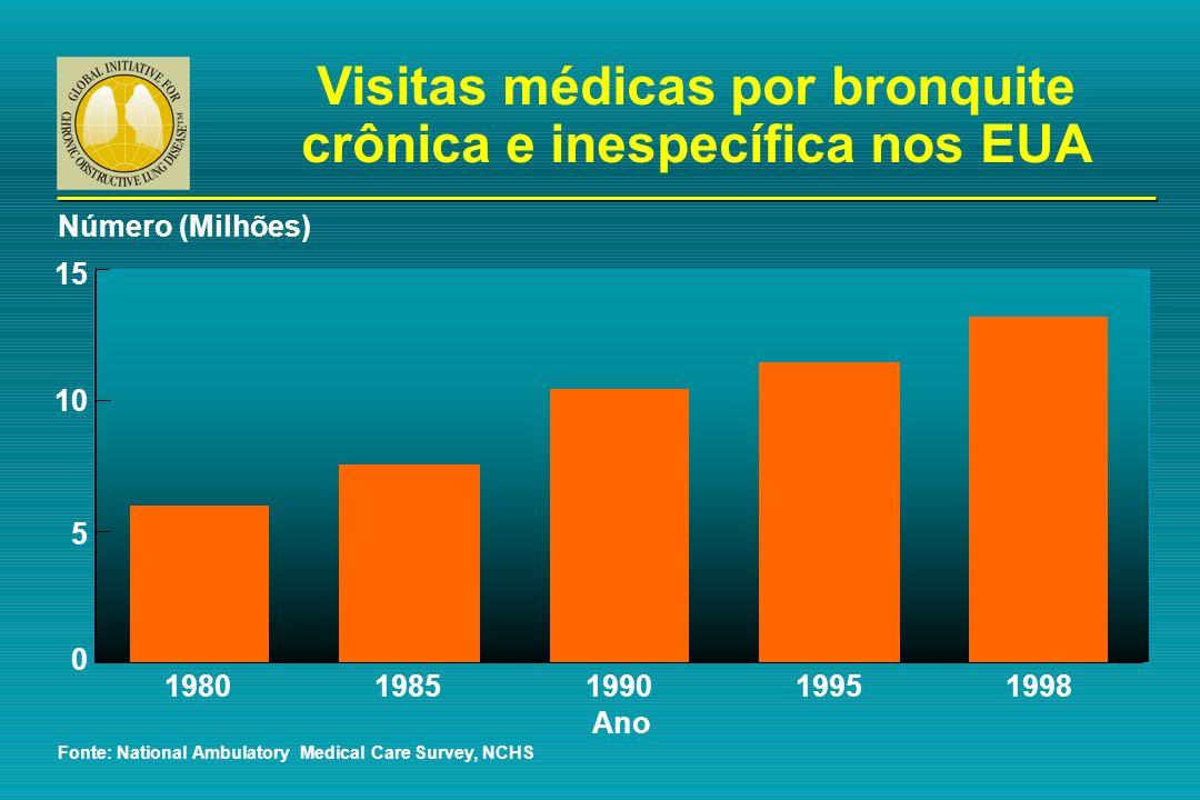 Visitas médicas por bronquite crônica e inespecífica nos EUA Fonte: National Ambulatory Medical Care Survey, NCHS 15 Número (Milhões) Ano 1980 10 5 0