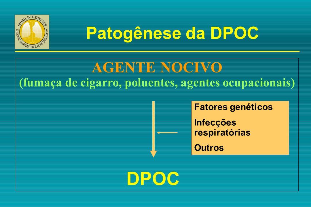 Patogênese da DPOC AGENTE NOCIVO (fumaça de cigarro, poluentes, agentes ocupacionais) DPOC Fatores genéticos Infecções respiratórias Outros