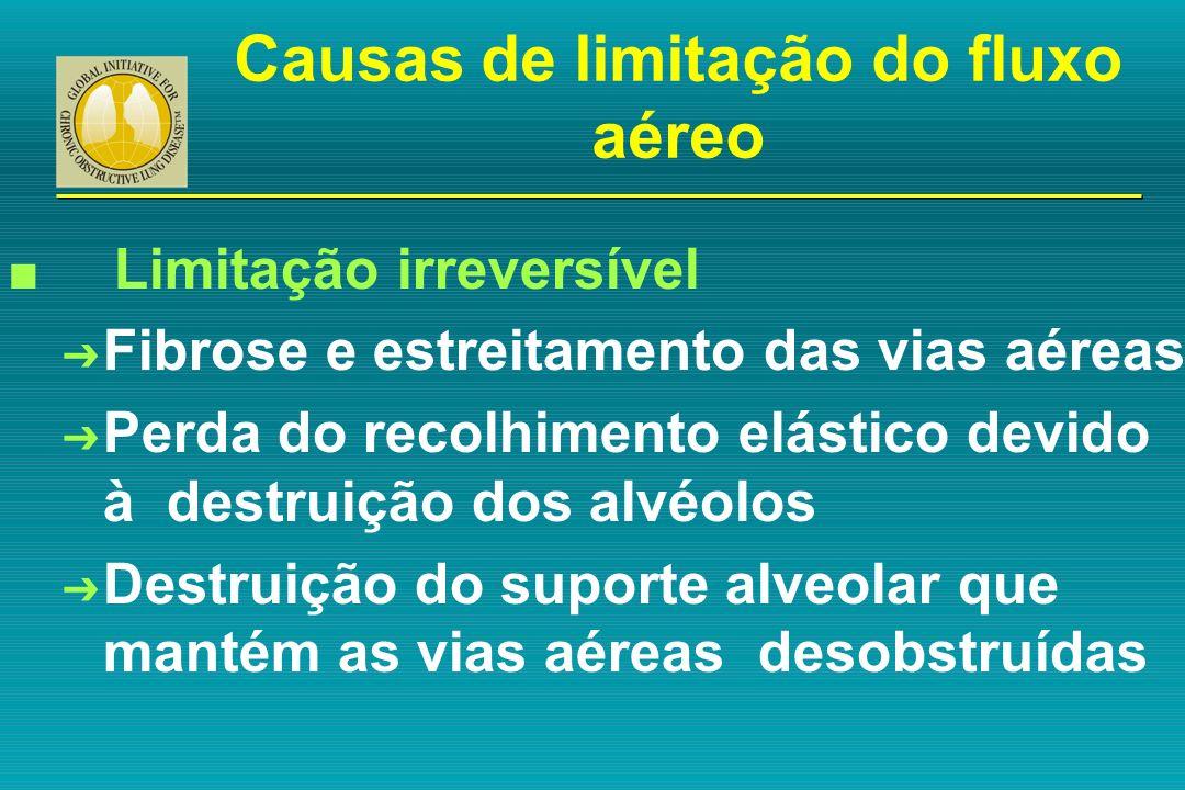 Causas de limitação do fluxo aéreo n Limitação irreversível Ô Fibrose e estreitamento das vias aéreas Ô Perda do recolhimento elástico devido à destru