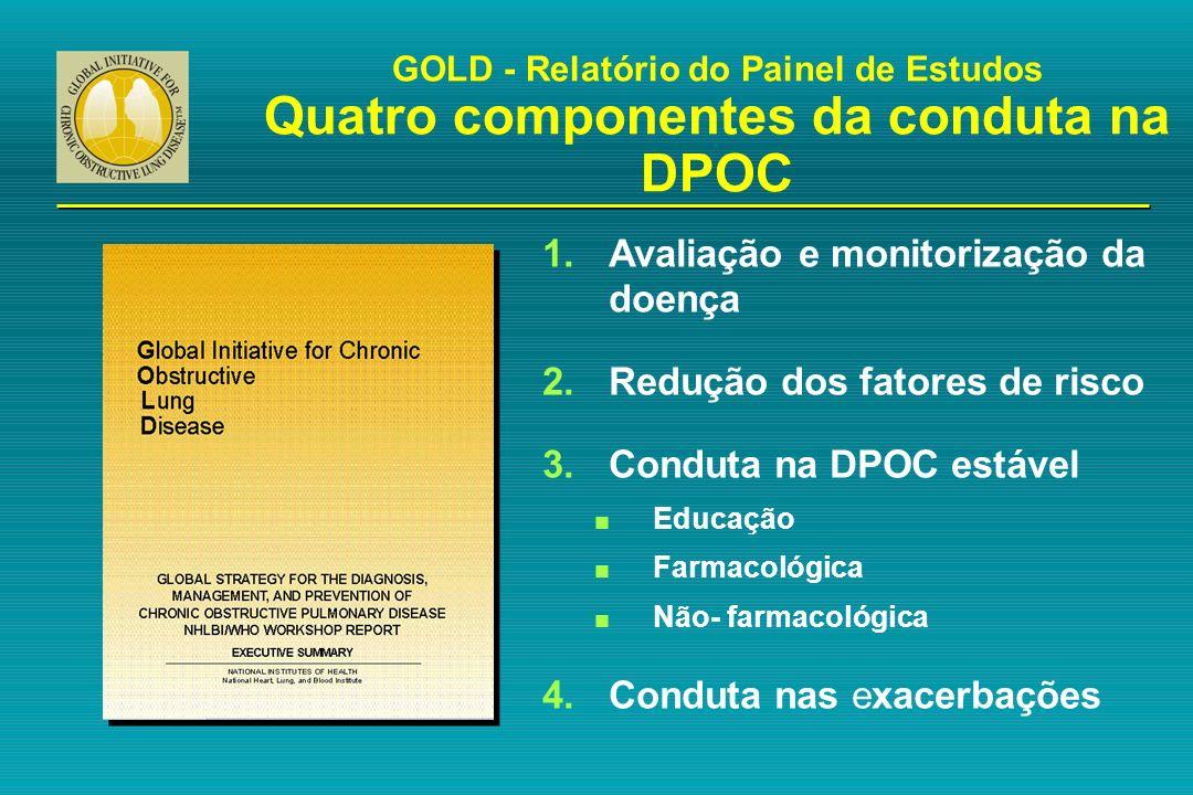 GOLD - Relatório do Painel de Estudos Quatro componentes da conduta na DPOC 1.Avaliação e monitorização da doença 2.Redução dos fatores de risco 3.Con