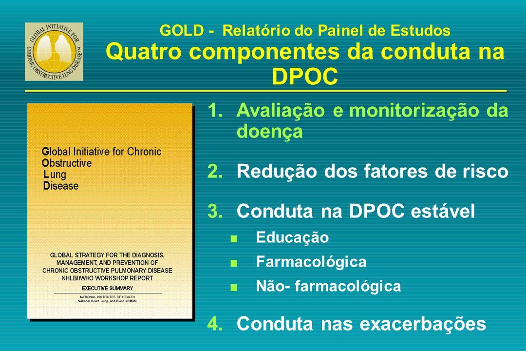 1.Avaliação e monitorização da doença 2.Redução dos fatores de risco 3.Conduta na DPOC estável n Educação n Farmacológica n Não- farmacológica 4.Condu