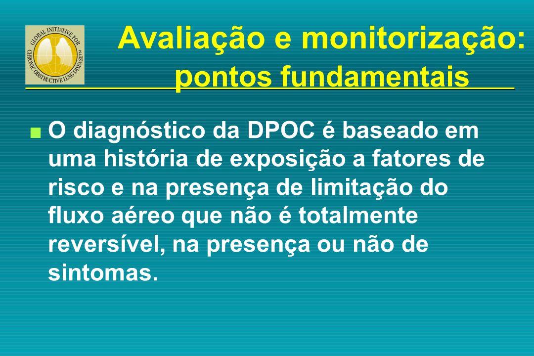 Avaliação e monitorização: p ontos fundamentais n O diagnóstico da DPOC é baseado em uma história de exposição a fatores de risco e na presença de lim