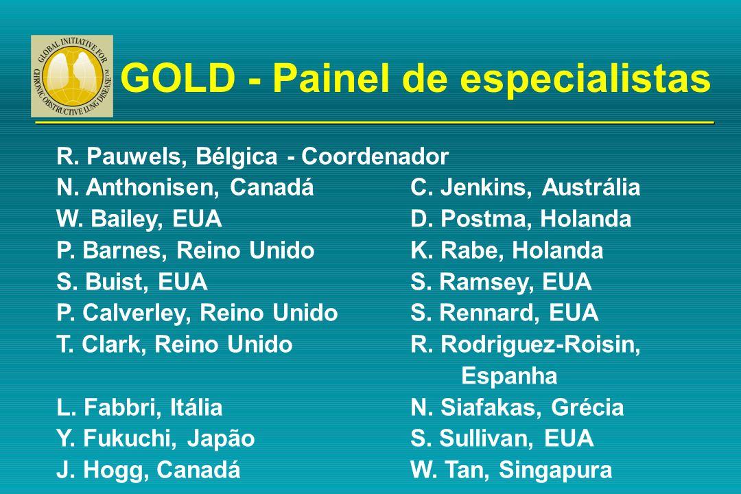 GOLD - Painel de especialistas R. Pauwels, Bélgica - Coordenador N. Anthonisen, CanadáC. Jenkins, Austrália W. Bailey, EUAD. Postma, Holanda P. Barnes