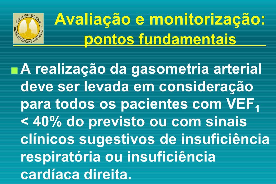 n A realização da gasometria arterial deve ser levada em consideração para todos os pacientes com VEF 1 < 40% do previsto ou com sinais clínicos suges
