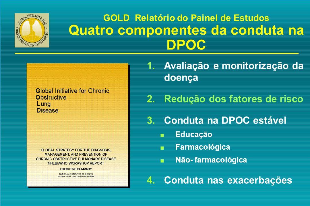 GOLD Relatório do Painel de Estudos Quatro componentes da conduta na DPOC 1.Avaliação e monitorização da doença 2.Redução dos fatores de risco 3.Condu