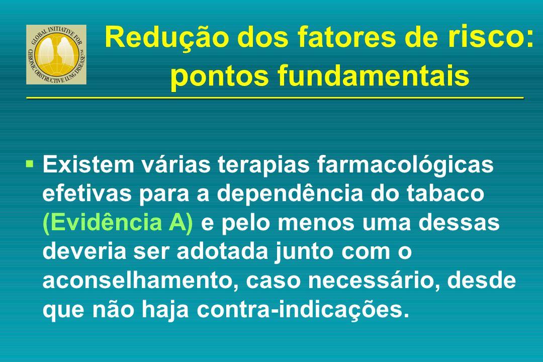 Redução dos fatores de risco: p ontos fundamentais Existem várias terapias farmacológicas efetivas para a dependência do tabaco (Evidência A) e pelo m