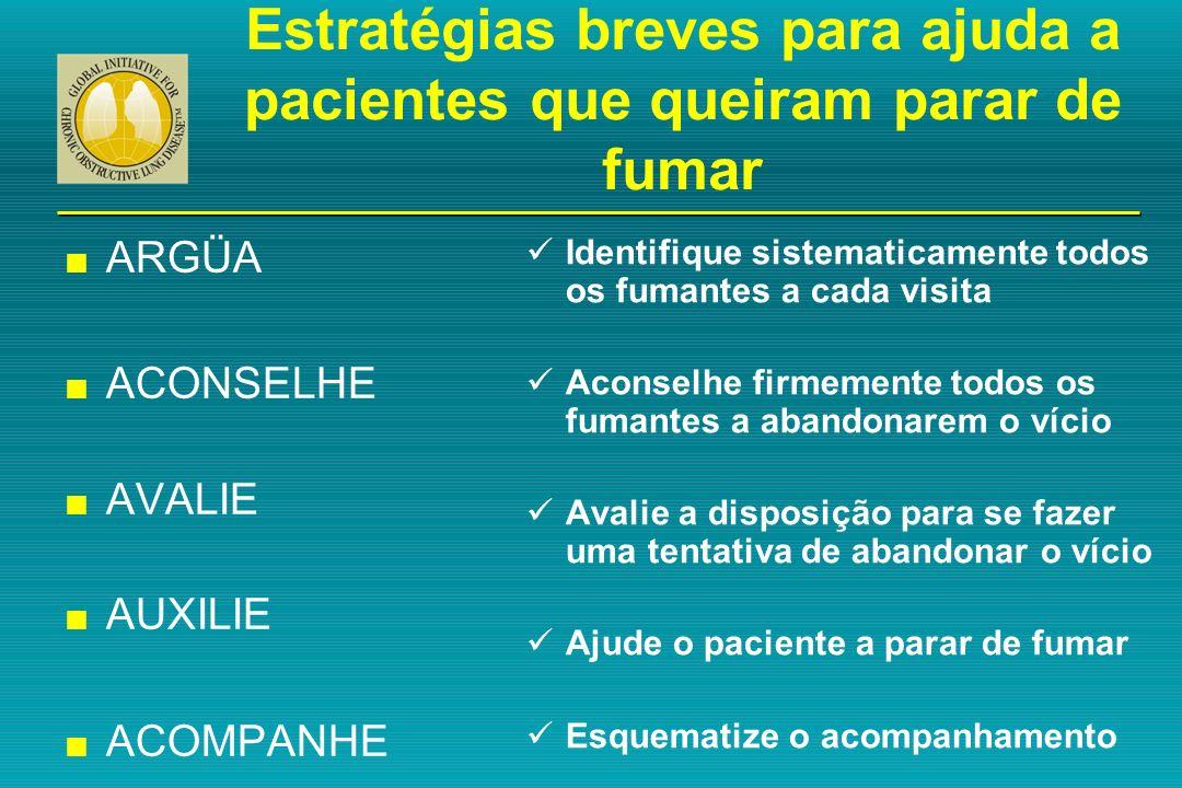 Estratégias breves para ajuda a pacientes que queiram parar de fumar n ARGÜA n ACONSELHE n AVALIE n AUXILIE n ACOMPANHE n ARGÜA n ACONSELHE n AVALIE n