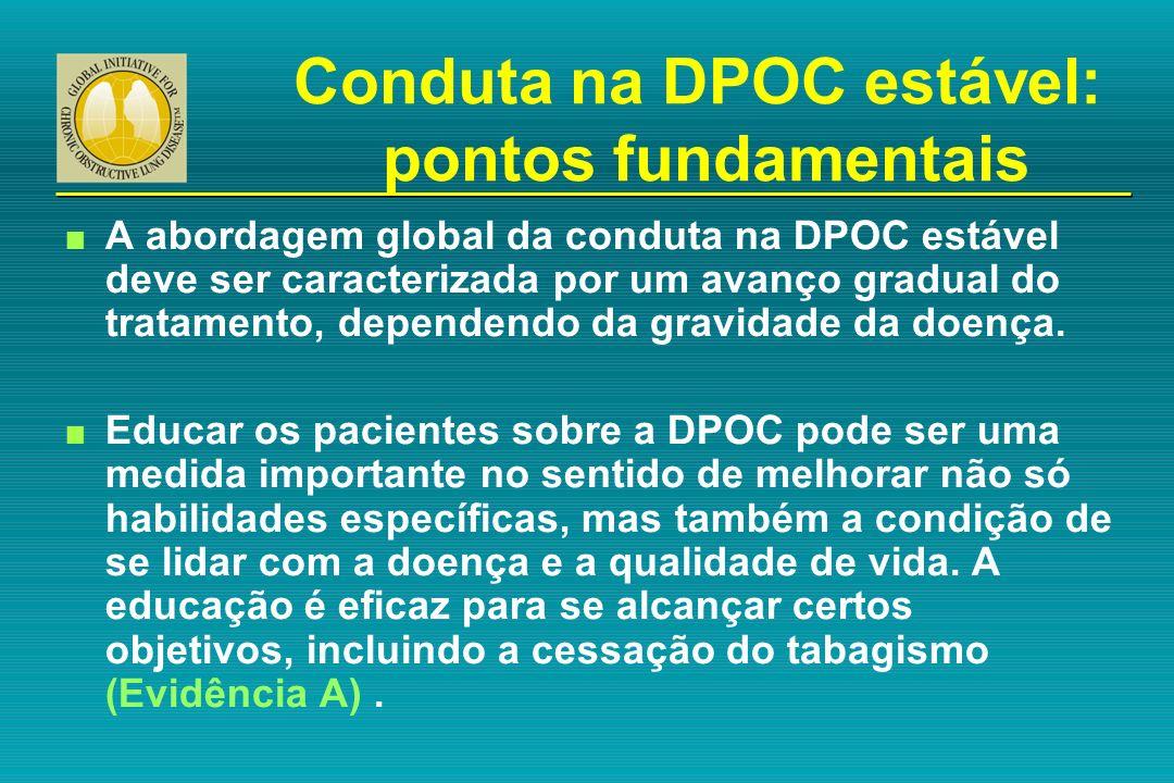 Conduta na DPOC estável: pontos fundamentais n A abordagem global da conduta na DPOC estável deve ser caracterizada por um avanço gradual do tratament