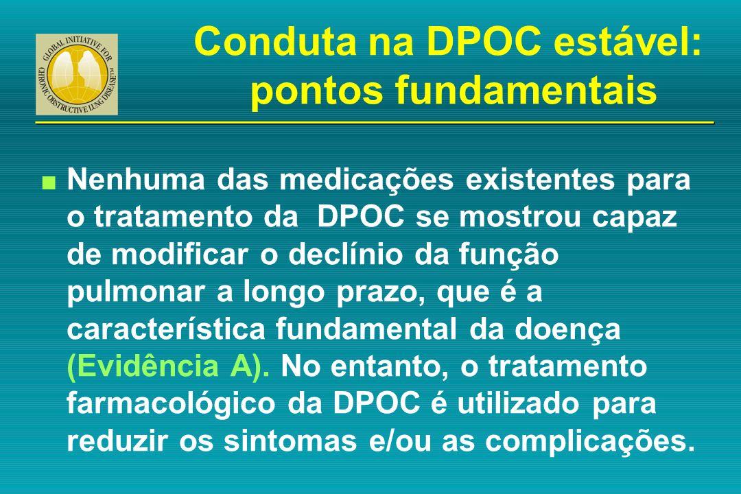 n Nenhuma das medicações existentes para o tratamento da DPOC se mostrou capaz de modificar o declínio da função pulmonar a longo prazo, que é a carac
