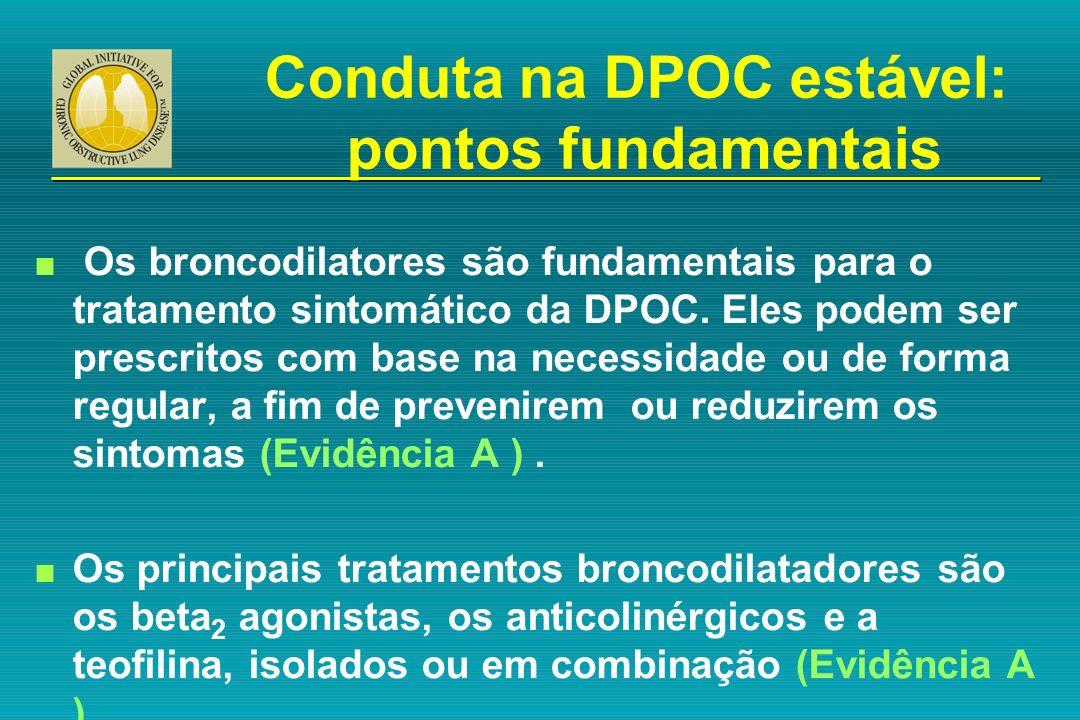 n Os broncodilatores são fundamentais para o tratamento sintomático da DPOC. Eles podem ser prescritos com base na necessidade ou de forma regular, a