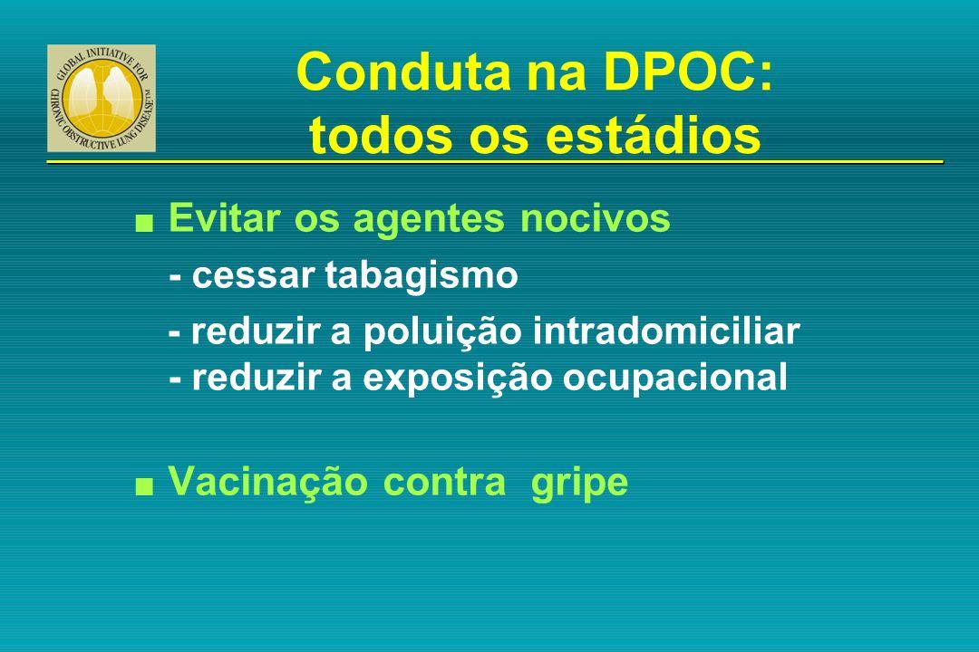 Conduta na DPOC: todos os estádios n Evitar os agentes nocivos - cessar tabagismo - reduzir a poluição intradomiciliar - reduzir a exposição ocupacion