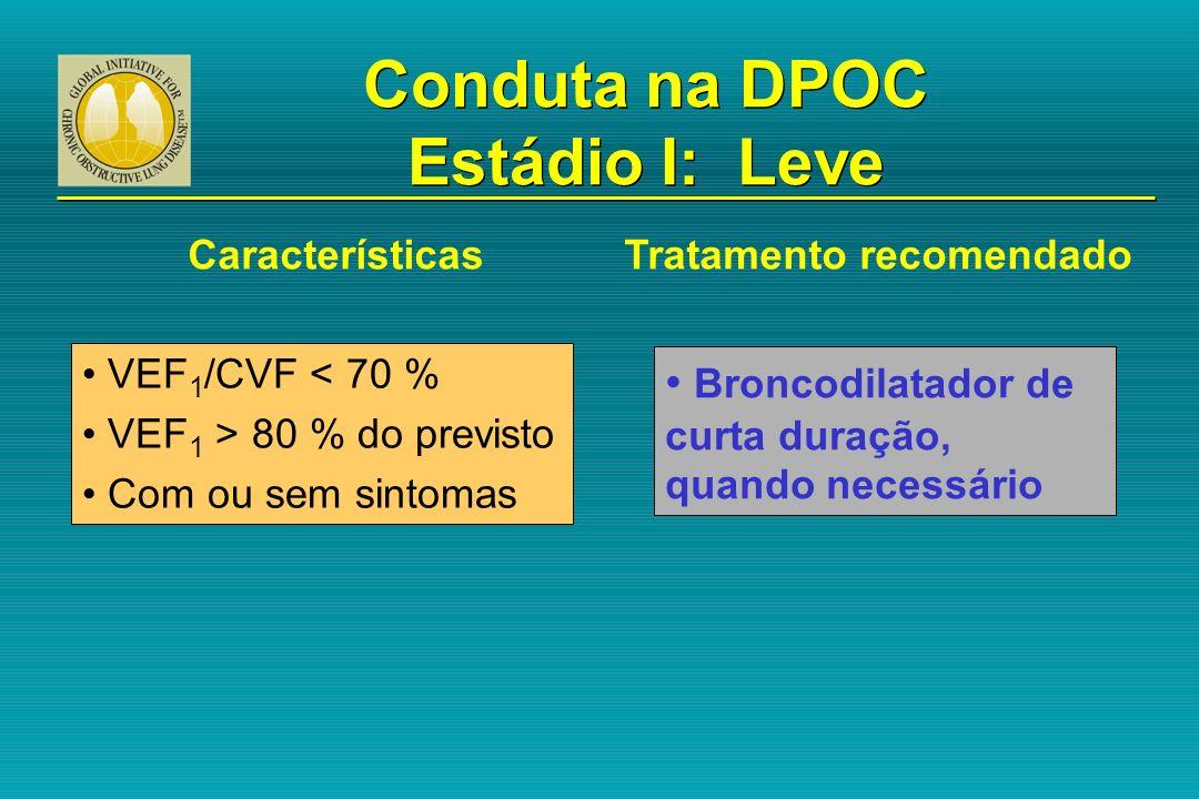 VEF 1 /CVF < 70 % VEF 1 > 80 % do previsto Com ou sem sintomas Broncodilatador de curta duração, quando necessário Conduta na DPOC Estádio I: Leve Car