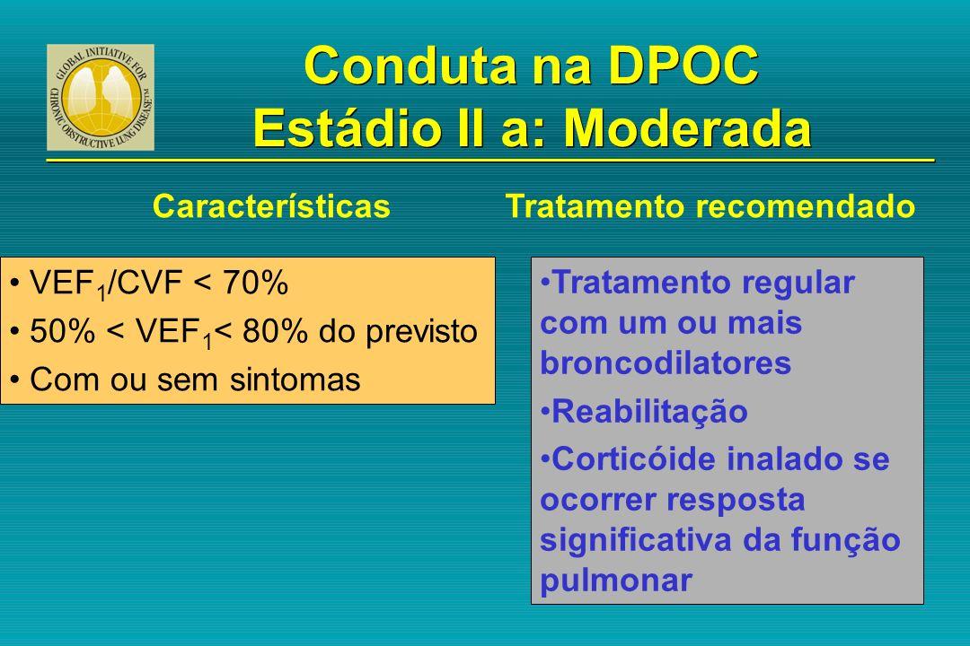 VEF 1 /CVF < 70% 50% < VEF 1 < 80% do previsto Com ou sem sintomas Tratamento regular com um ou mais broncodilatores Reabilitação Corticóide inalado s