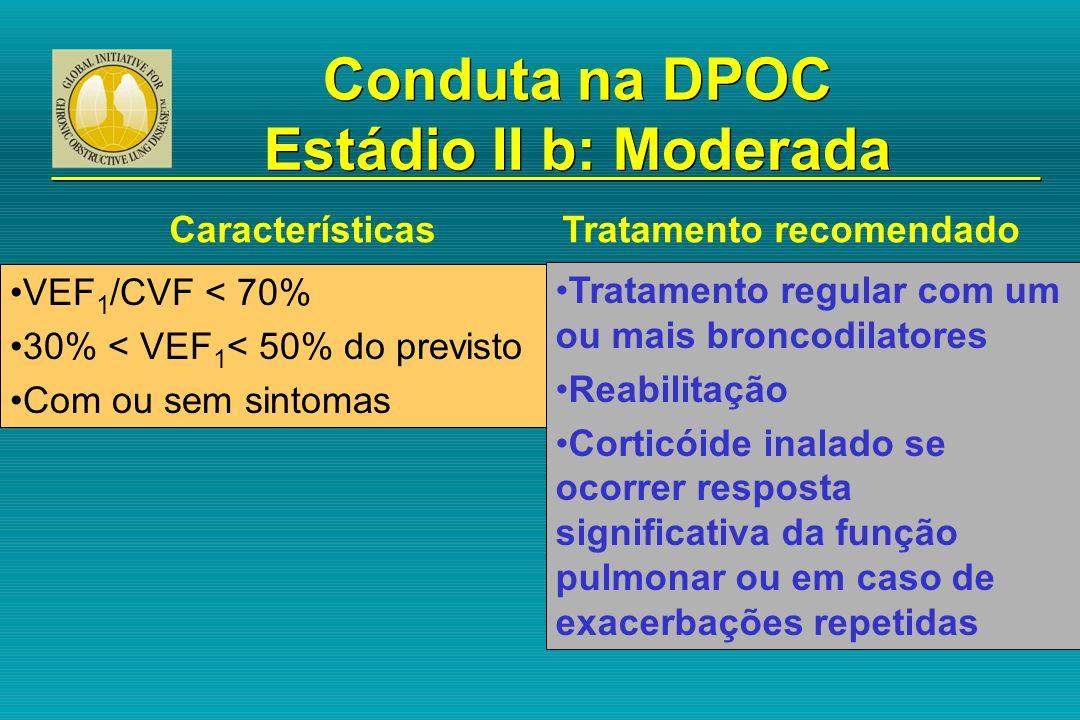 Características Tratamento recomendado VEF 1 /CVF < 70% 30% < VEF 1 < 50% do previsto Com ou sem sintomas Conduta na DPOC Estádio II b: Moderada Trata