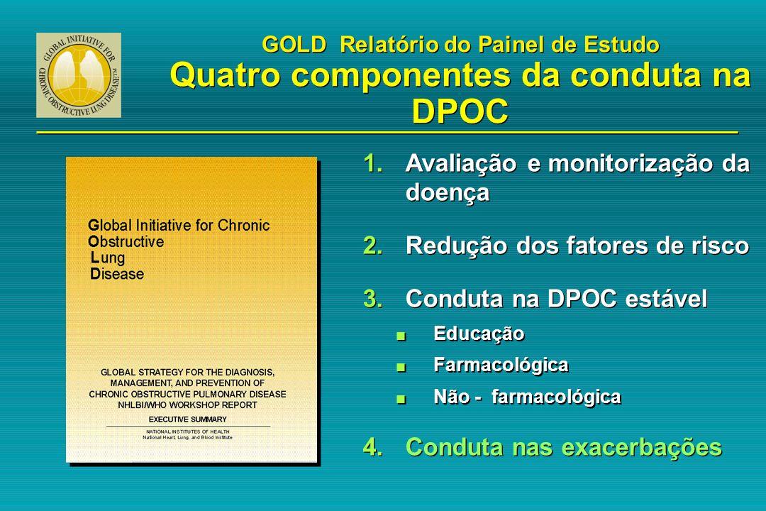 GOLD Relatório do Painel de Estudo Quatro componentes da conduta na DPOC 1.Avaliação e monitorização da doença 2.Redução dos fatores de risco 3.Condut