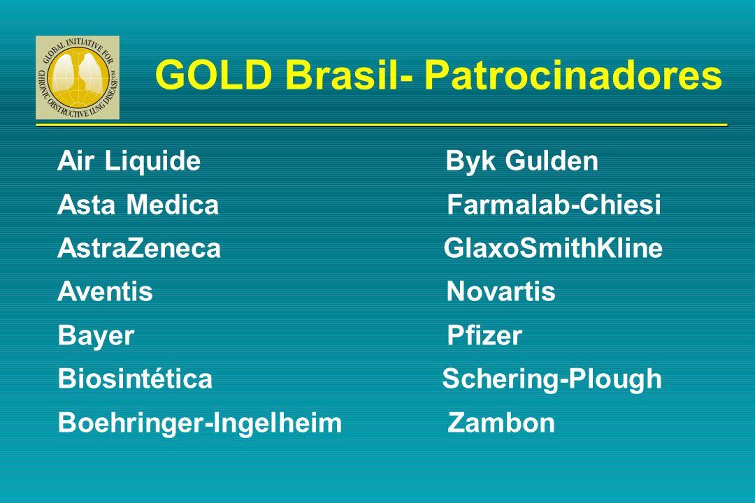 GOLD Brasil- Patrocinadores Air Liquide Byk Gulden Asta Medica Farmalab-Chiesi AstraZeneca GlaxoSmithKline Aventis Novartis Bayer Pfizer Biosintética