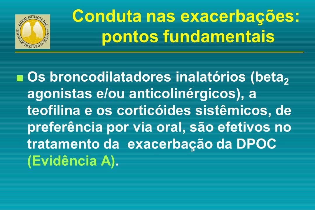 n Os broncodilatadores inalatórios (beta 2 agonistas e/ou anticolinérgicos), a teofilina e os corticóides sistêmicos, de preferência por via oral, são